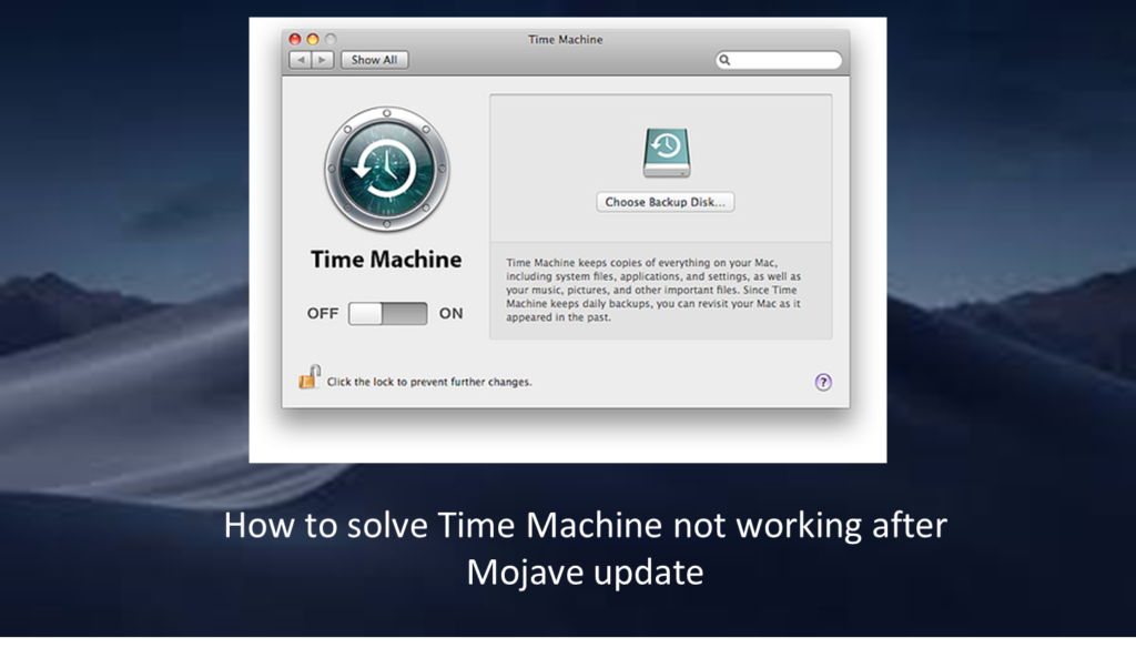 Fix Mojave Time Machine not working
