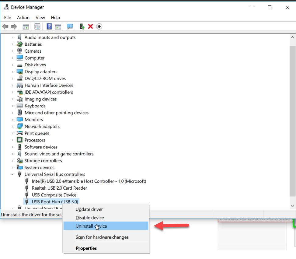 Solve USB error uninstall USB hub