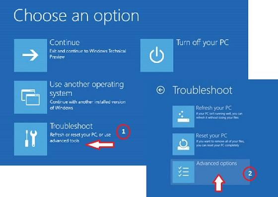 click-troubleshoot-advanced-options
