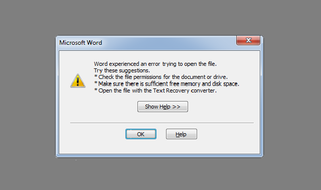 How to Fix Word Experienced an Error Trying to Open the File?