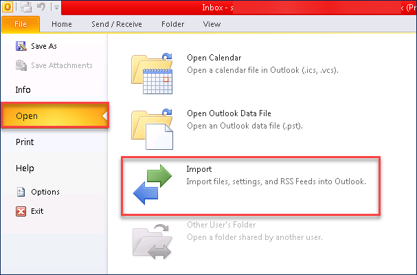 "picture of Outlook 2010 and selecting ""open"" to start the PST to OST converting process"