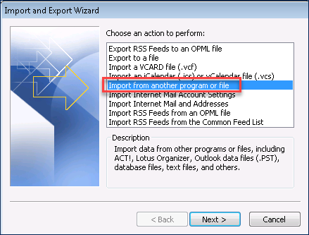 picture of Import and Export Wizard of Outlook 2010 to convert PST to OST