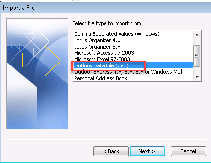 picture of selecting your Outlook data file (.pst) from the wizard