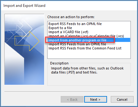picture of the import and export wizard to select the PST file