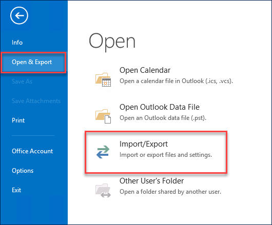 picture of Outlook to open and export PST files to the exchange server
