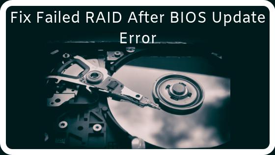 Fix RAID after bios update