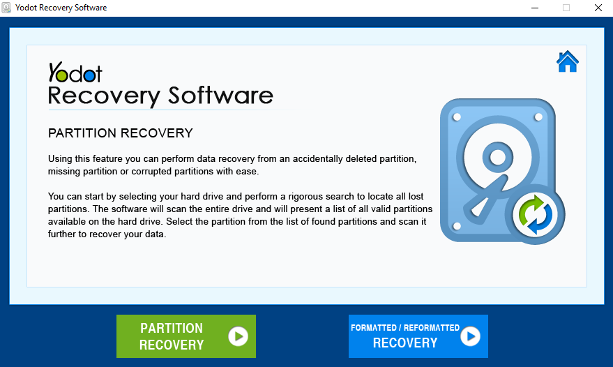 Select partition recovery option