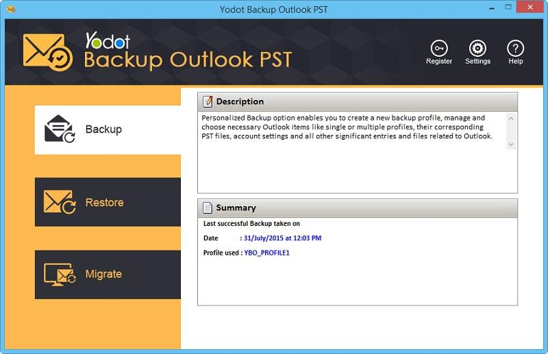 Yodot Backup Outlook PST screenshot
